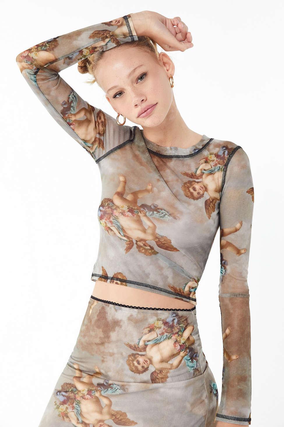 191c6284c0372a Urban Outfitters. Women s Uo Cherub Mesh Long Sleeve Top