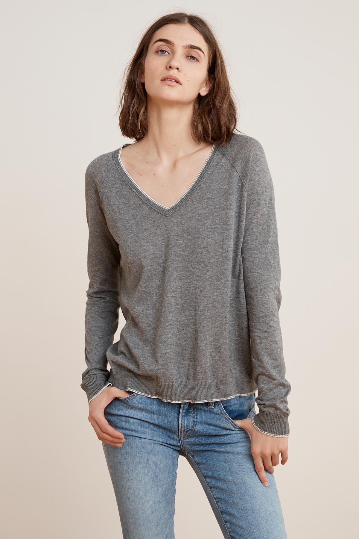 276e3f57990dbe Velvet By Graham & Spencer Moriah Lux Cotton V-neck Sweater in Gray ...