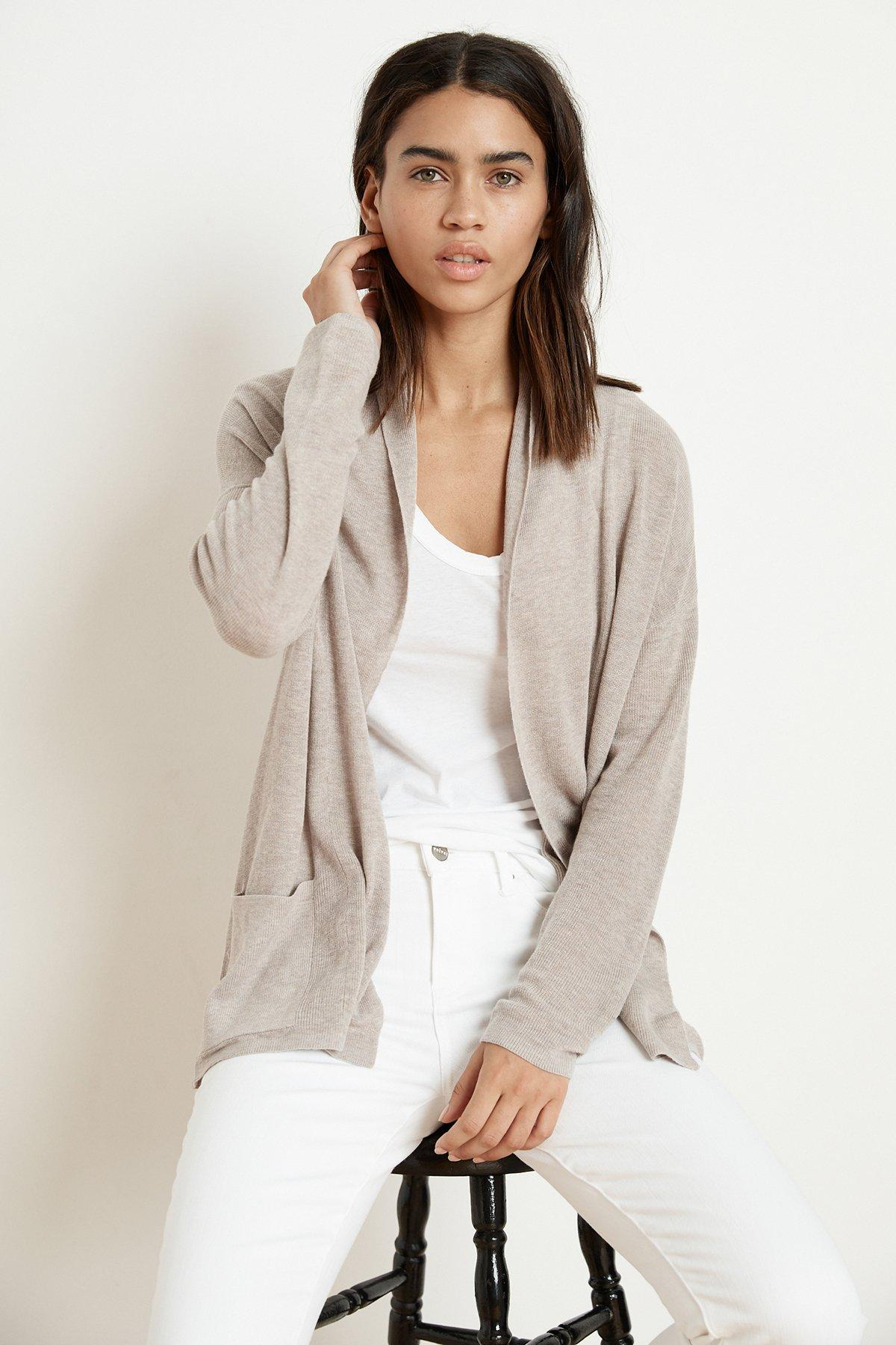 a8a1c74f427ab5 Velvet By Graham & Spencer. Women's Natural Jurnee Lux Cotton Knit Cardigan