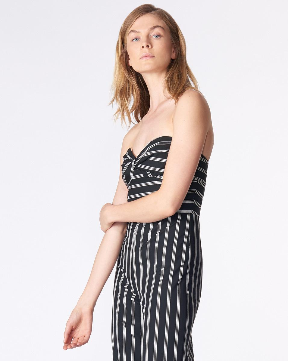 d5c5e5d1fd Lyst - Veronica Beard Cypress Stripe Strapless Jumpsuit in Black