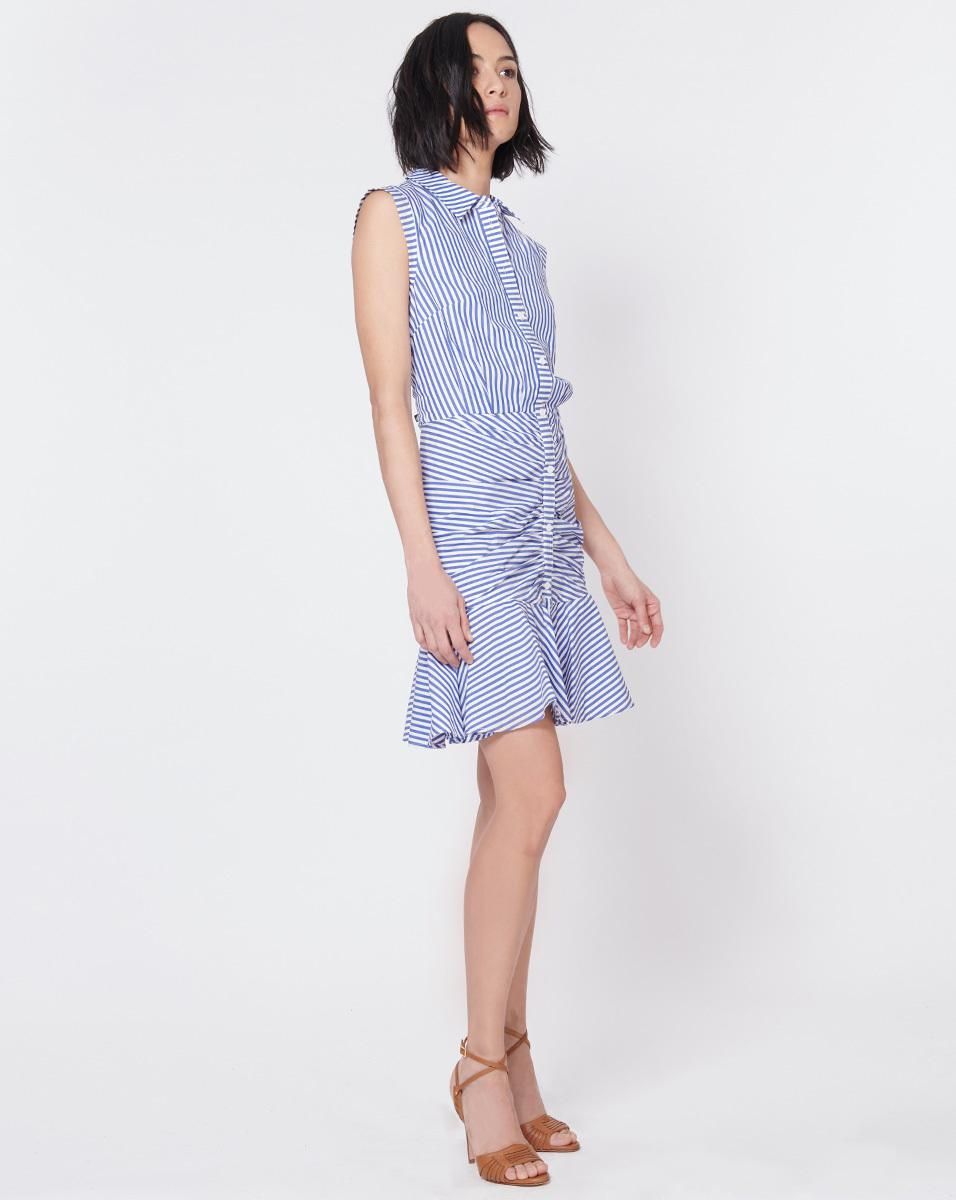 b33076d9be2 Veronica Beard Bell Buttoned-down Ruched Shirt Dress in Blue - Save ...