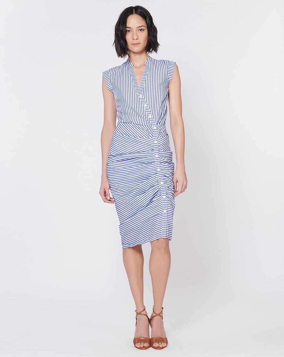 0c2a2acddec Veronica Beard Ruched Shirt Dress in Blue - Save 8% - Lyst