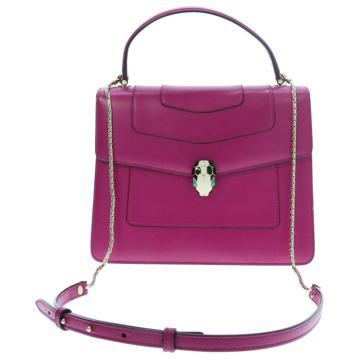 b74bdb030c93 Lyst - Bvlgari Pre-owned Serpenti Leather Handbag in Pink