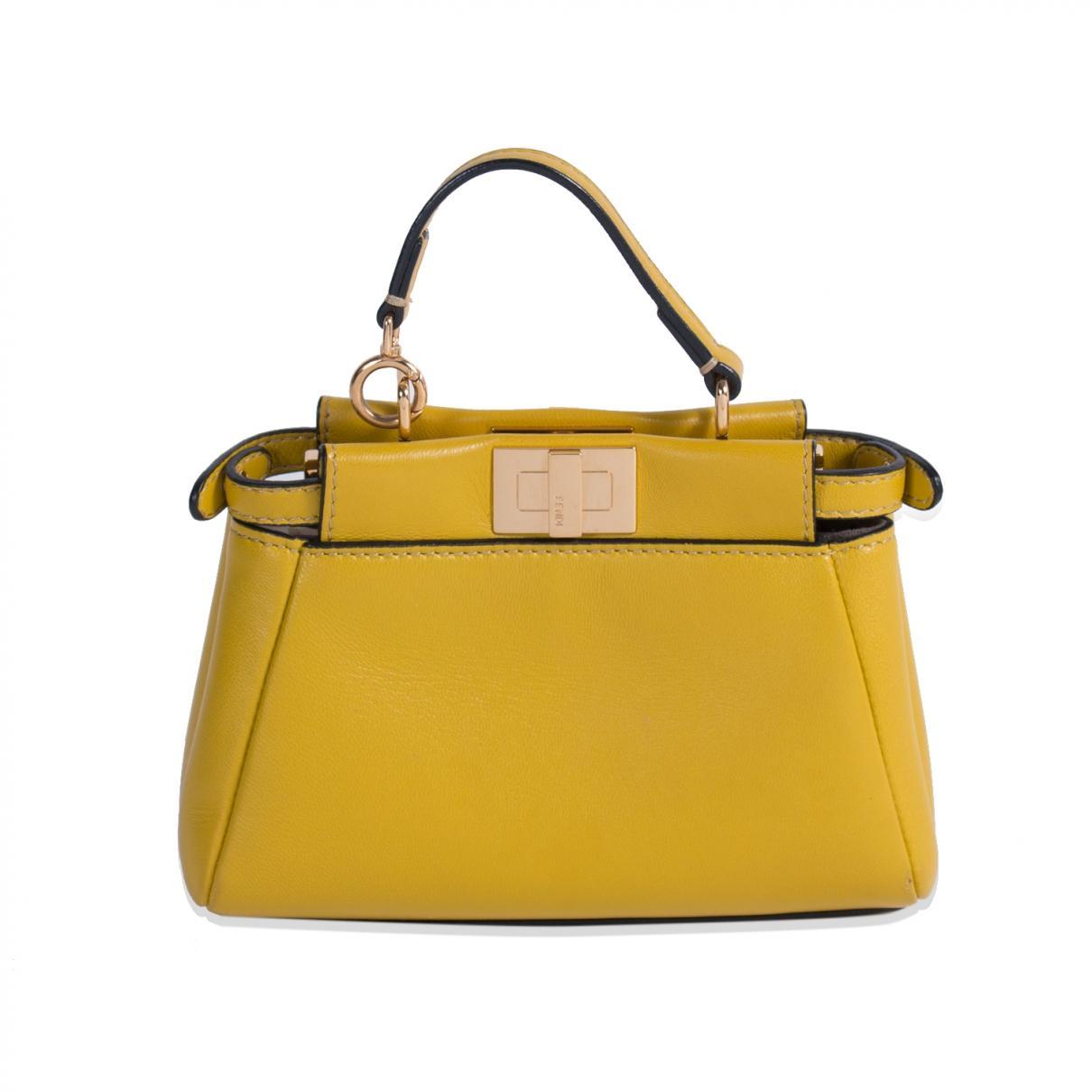 8625b301 Fendi Pre-owned Peekaboo Yellow Leather Handbags in Yellow - Lyst