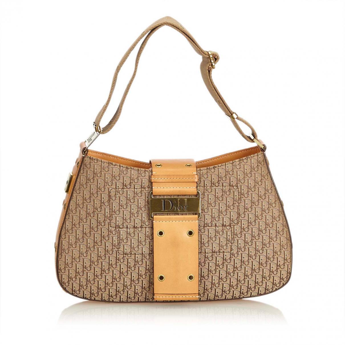 a9adf07cf87 Lyst - Dior Pre-owned Brown Cloth Handbags in Brown