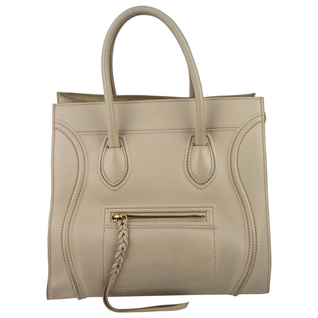 8faffb57eb Céline Luggage Phantom Leather Handbag in Natural - Save ...