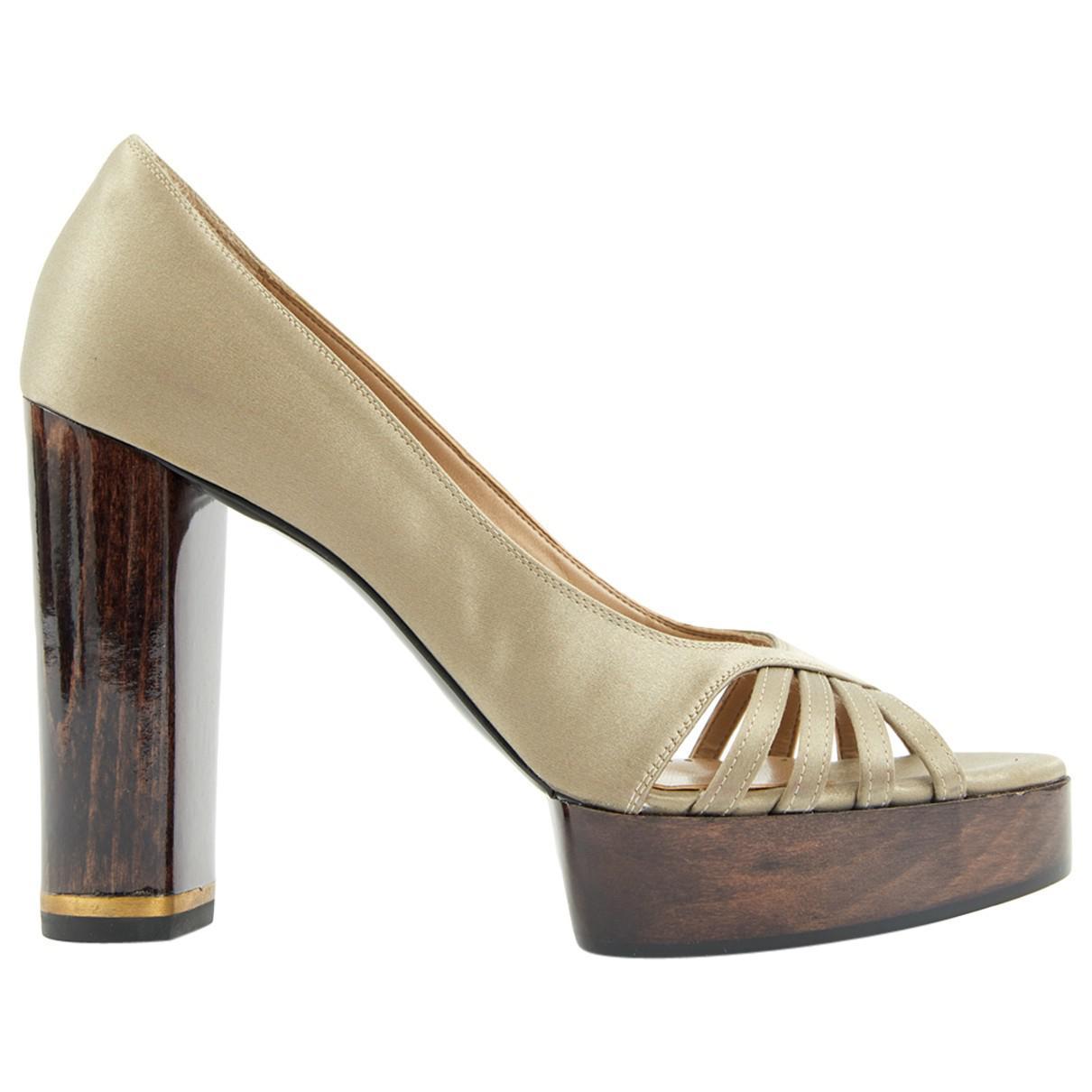 5b978c506fe Lyst - Stella Mccartney Cloth Heels in Natural