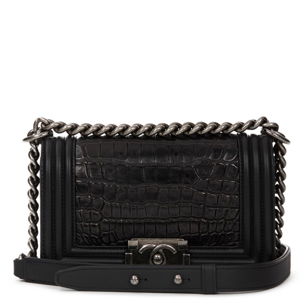 2a2d0805676e Chanel Pre-owned Boy Alligator Handbag in Black - Lyst
