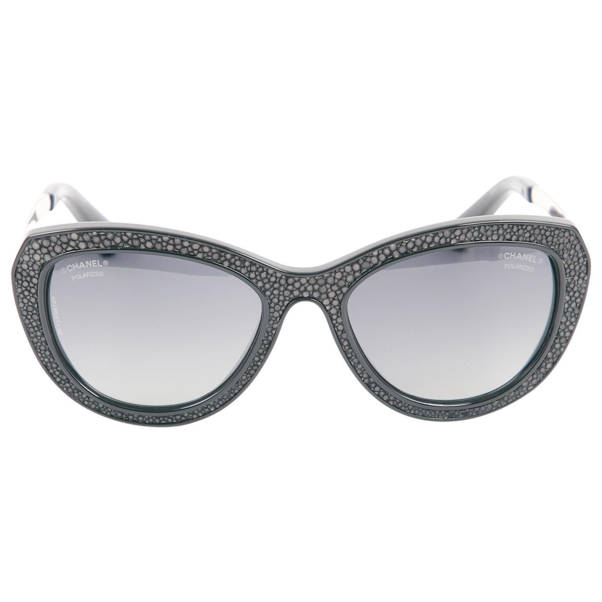 82665a39a6c Lyst - Chanel Pre-owned Sunglasses in Black