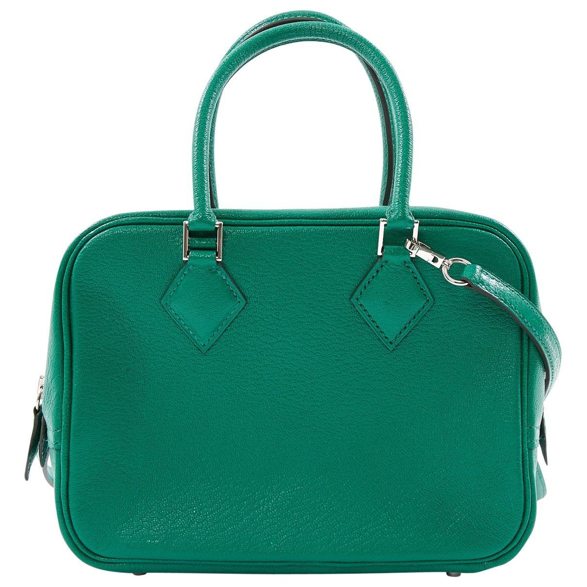 En Vert Coloris Bandoulière Hermès Plume Cuir Sac Lyst ftngqOSA