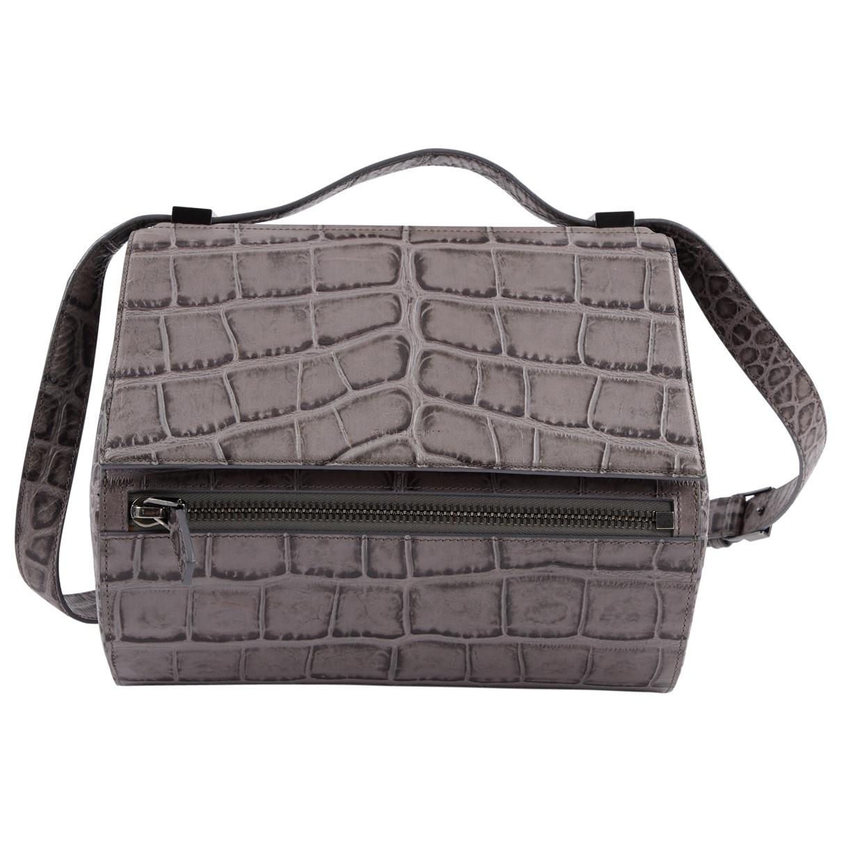 55f381b72e4f Givenchy Pandora Box Grey Leather Handbag in Gray - Lyst