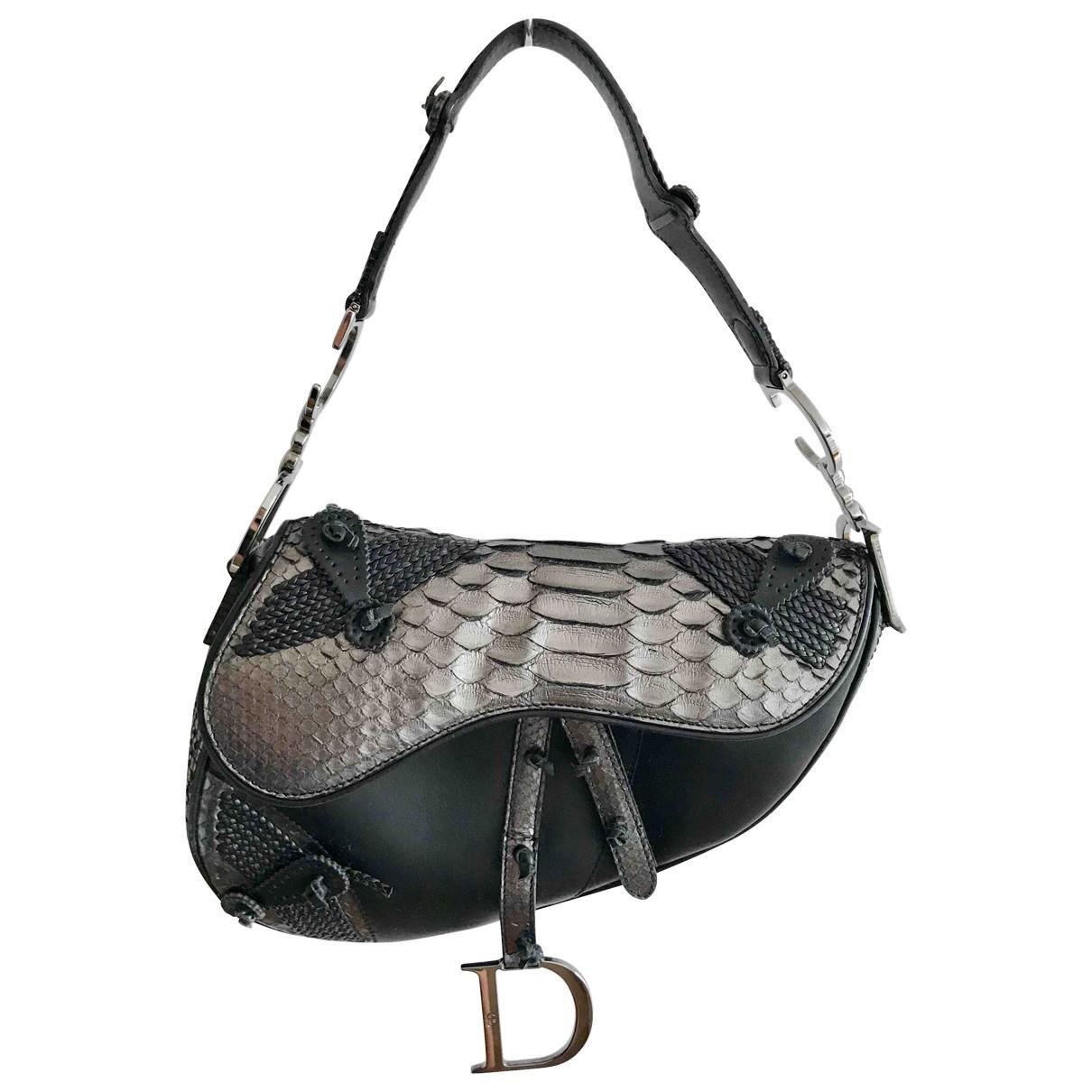 bf9afc3067a0 Lyst - Dior Pre-owned Saddle Python Handbag in Black
