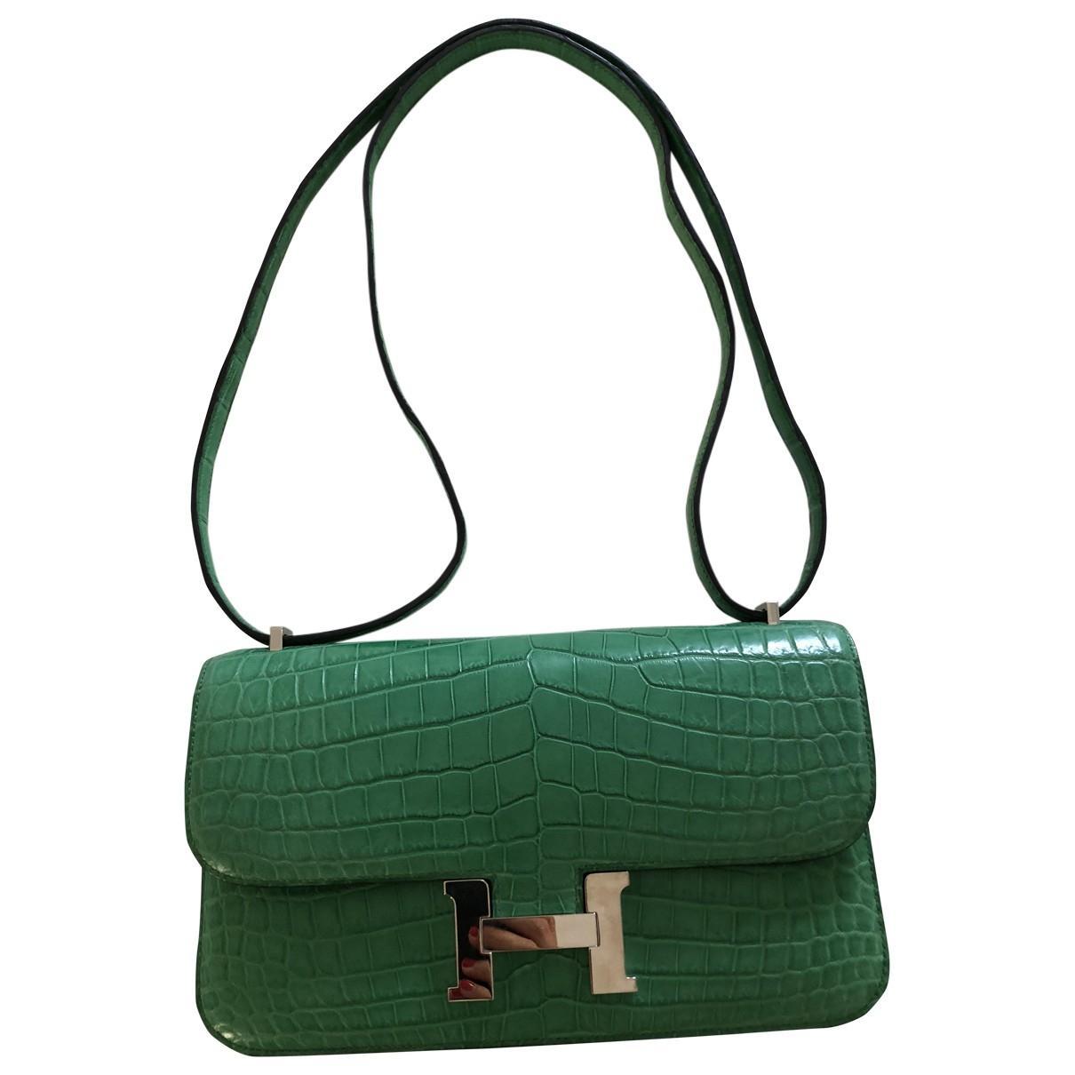 749ae299b28 ... spain hermès. womens green constance elan crocodile 63634 45e1a
