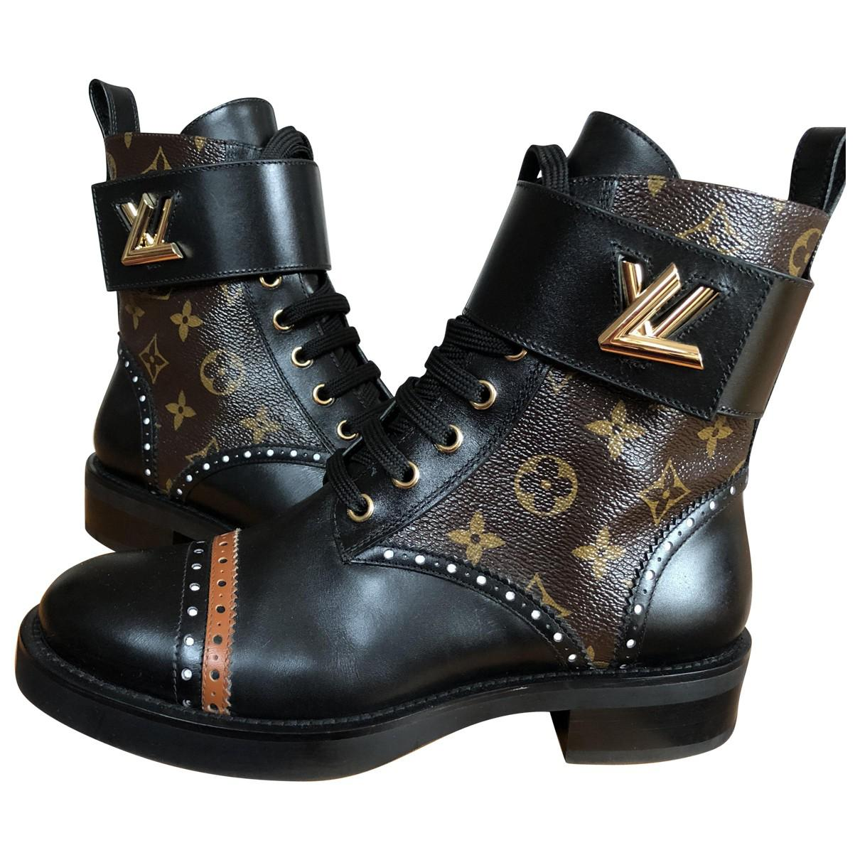 f259de10630b Lyst - Louis Vuitton Pre-owned Leather Lace Up Boots in Black