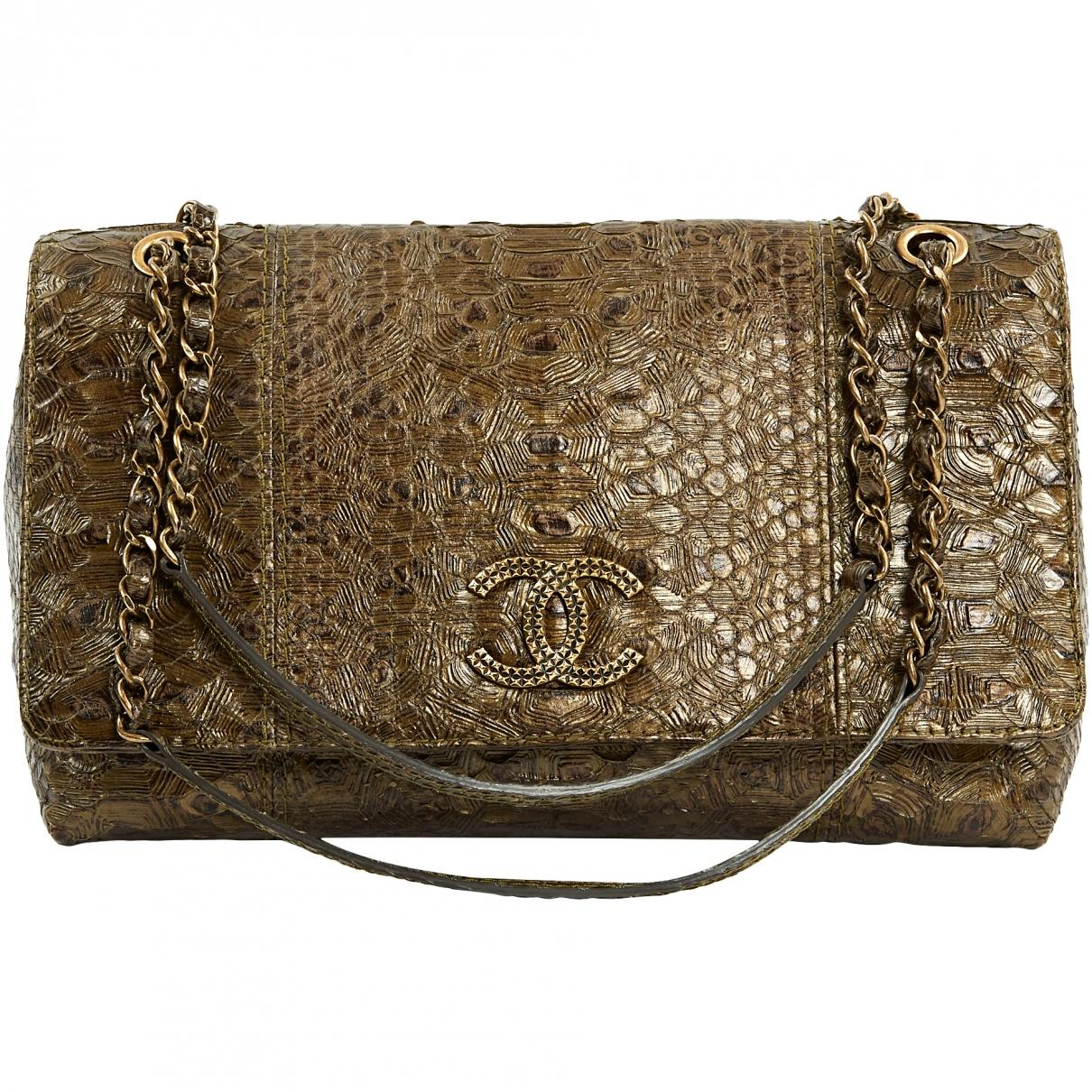 ca417350d815 Lyst - Chanel Pre-owned Brown Python Handbags in Brown