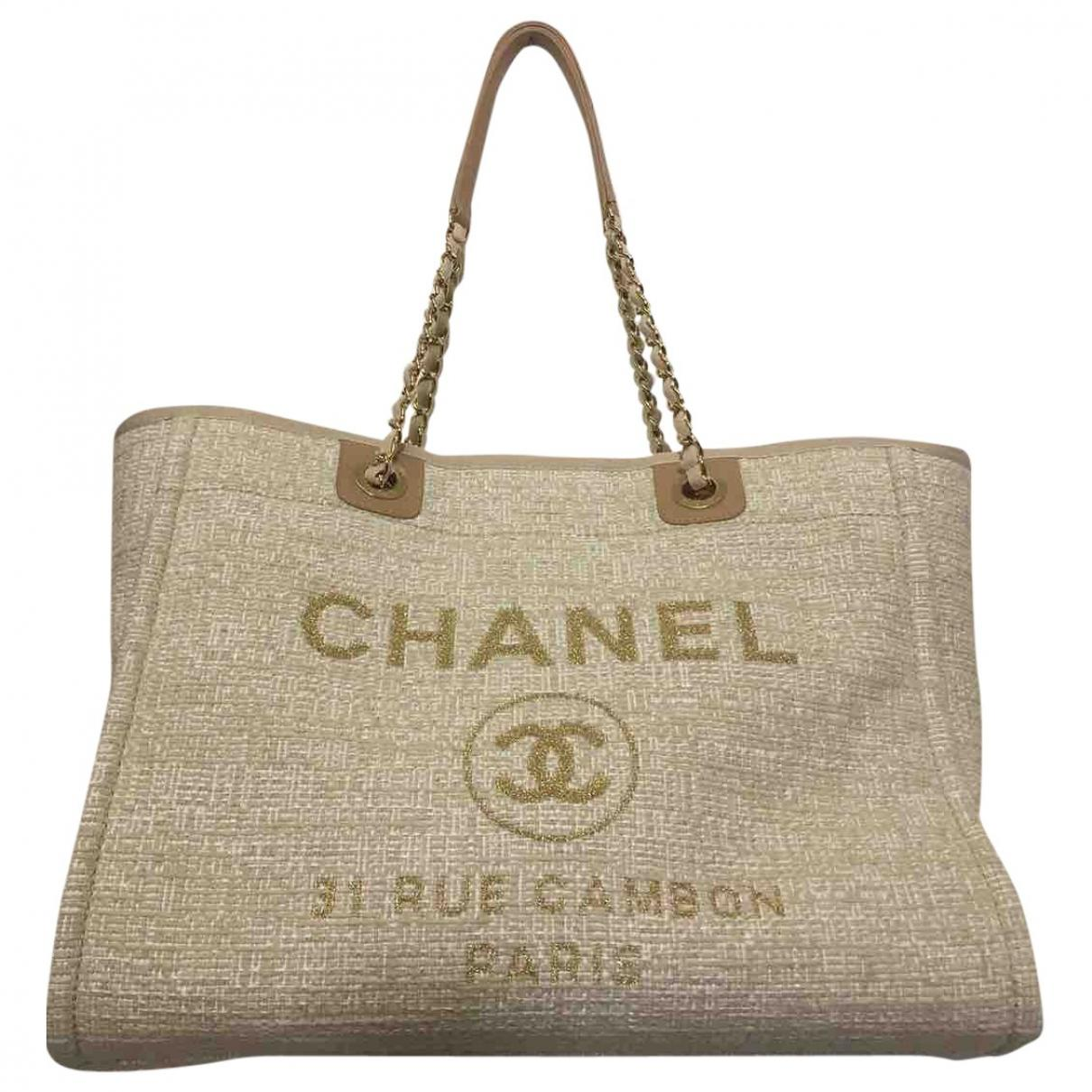 f2bc749e87975d Chanel Deauville Tweed Tote in Natural - Lyst