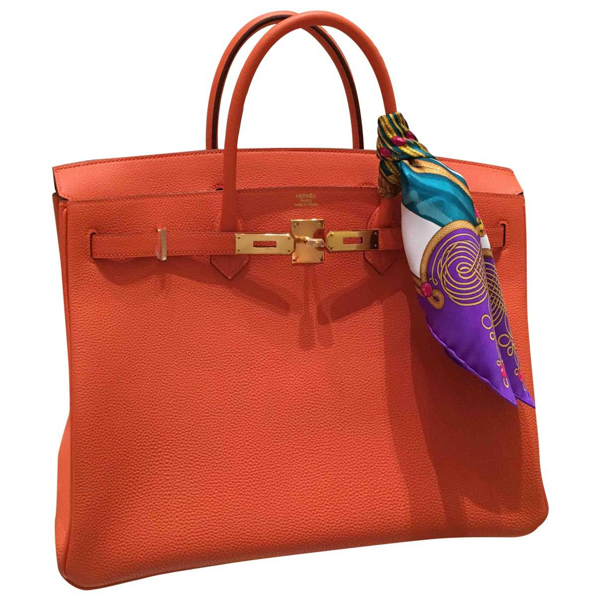 Lyst - Hermès Pre-owned Birkin Leather Handbag in Orange 12acb1bc2