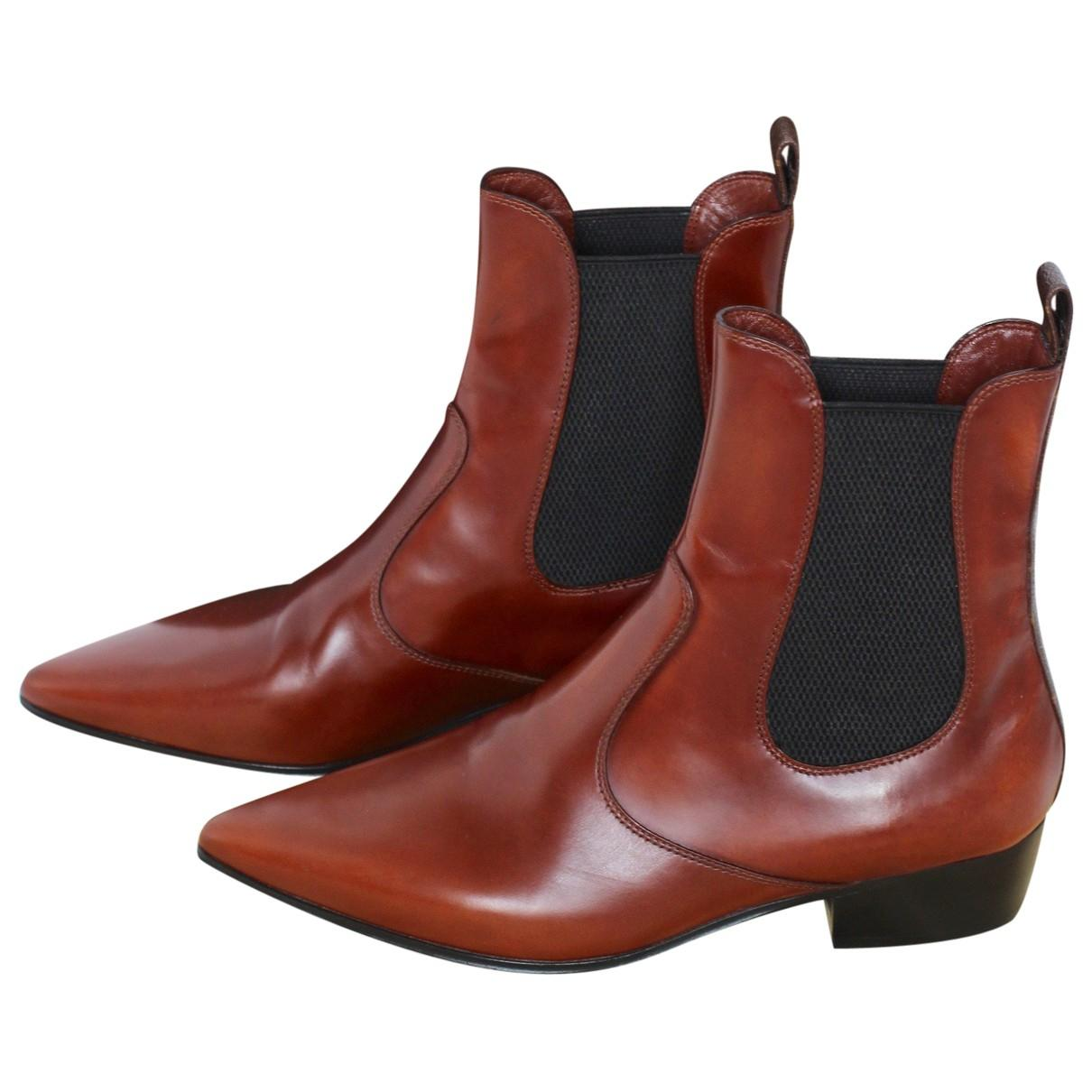 71a75e438b08eb Louis Vuitton Leather Ankle Boots in Brown - Lyst