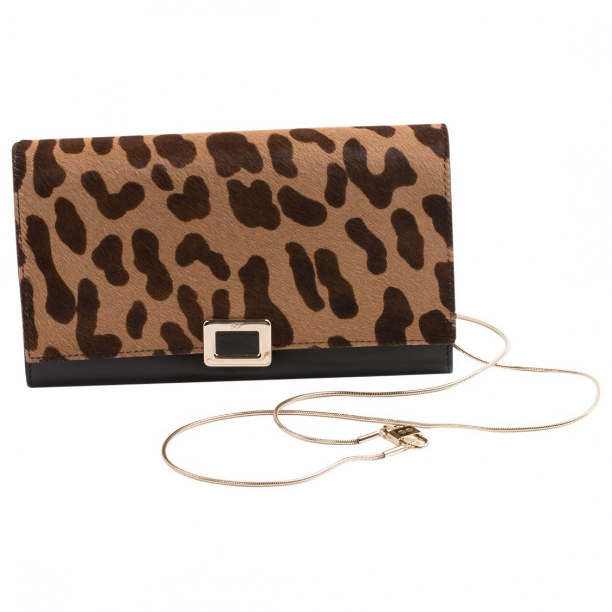 0856339d8831 Lyst - Roger Vivier Pre-owned Brown Pony-style Calfskin Clutch Bag ...