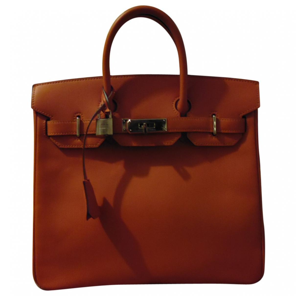 f355803c274 Lyst - Hermès Haut À Courroies Orange Leather Handbag in Orange