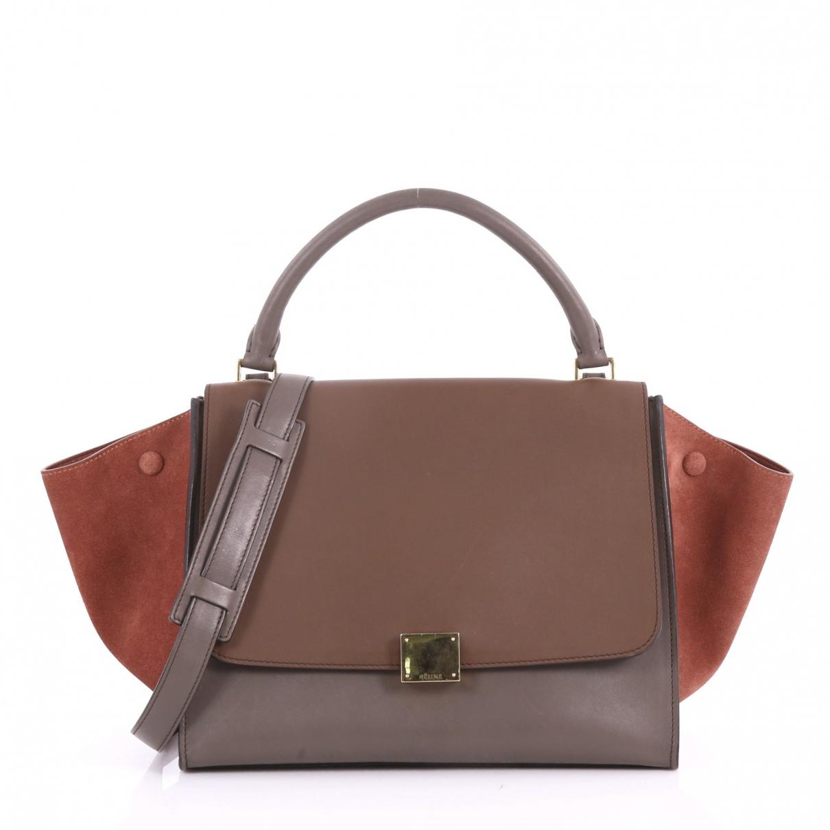 2123fd138f Céline Pre-owned Trapèze Leather Crossbody Bag in Brown - Lyst