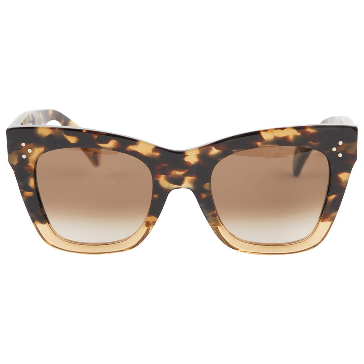 42773f34273b Lyst - Céline Pre-owned Oversized Sunglasses in Brown