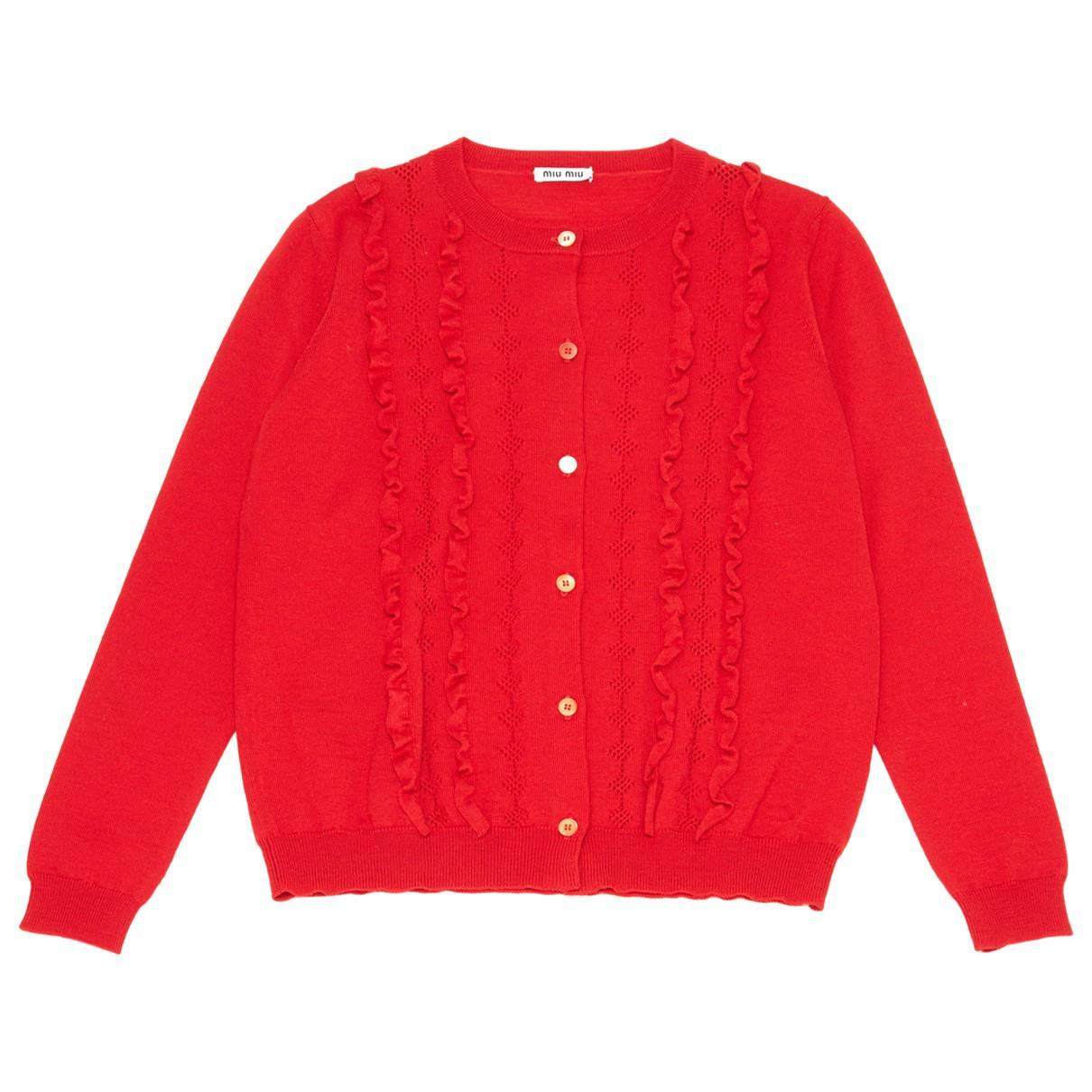 9f0be3c8592 Lyst - Miu Miu Pre-owned Wool Cardigan in Red