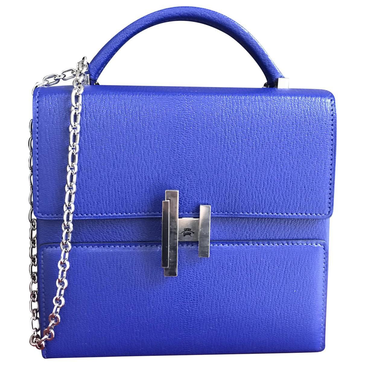 db7e55fd4f Hermès Pre-owned Leather Crossbody Bag in Blue - Lyst