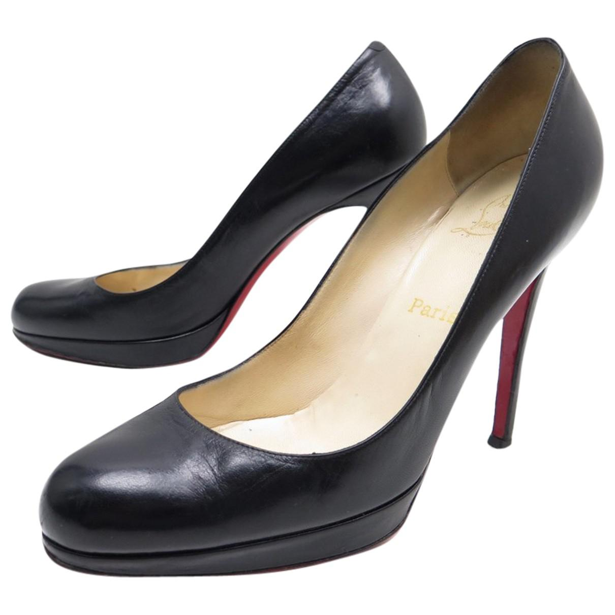 14fc34350c Lyst - Christian Louboutin Pre-owned Simple Pump Leather Heels in Black