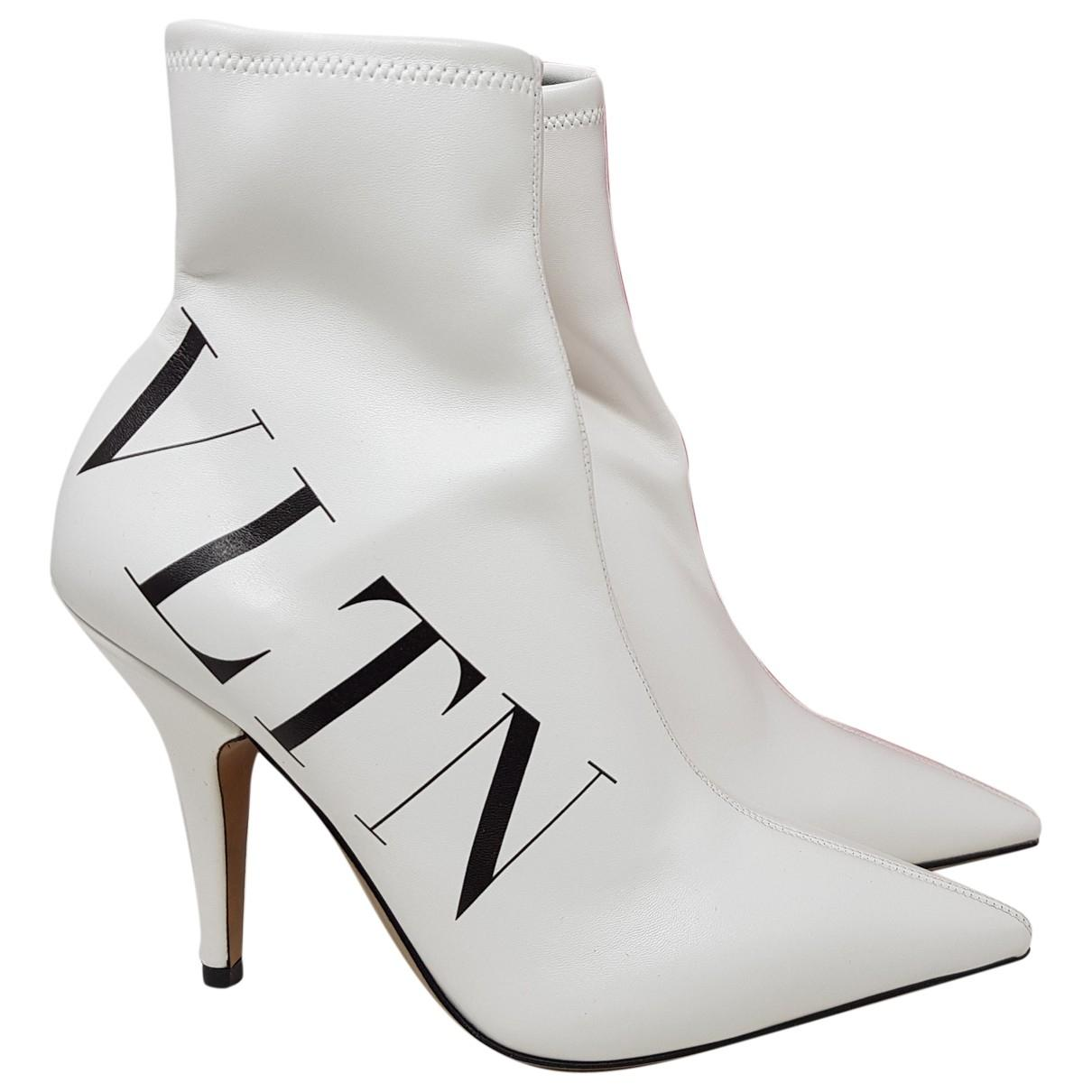 8c6ff8e02944d Valentino. Women s Pre-owned Vltn White Polyester Ankle Boots. £473 From Vestiaire  Collective