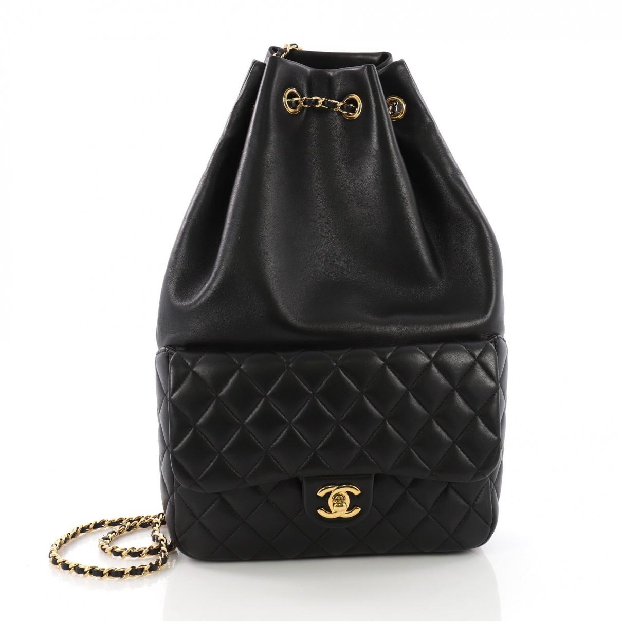 aade64beb36f Lyst - Chanel Black Leather Backpacks in Black