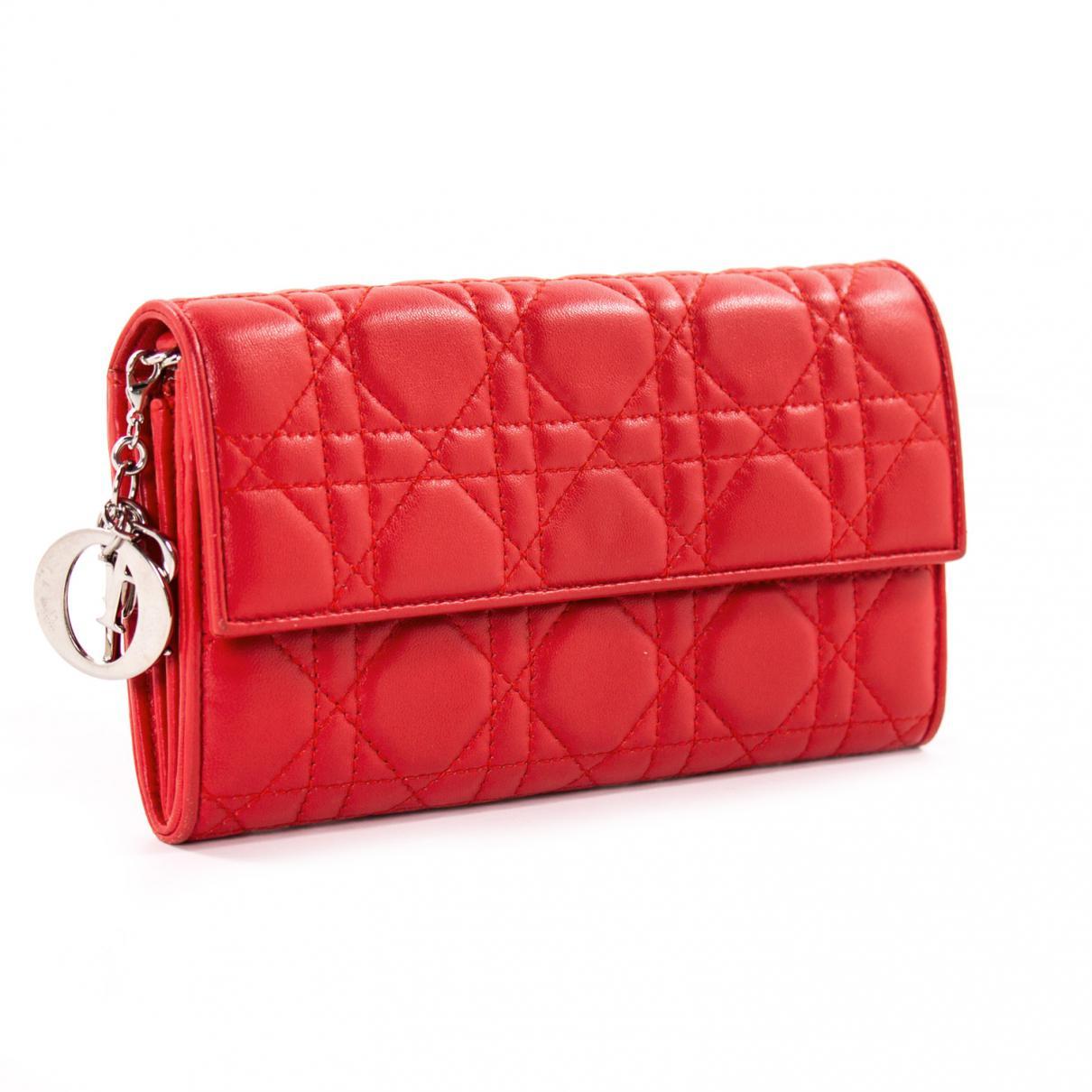 cc72a6b580aff4 Dior - Red Leather Clutch Bag - Lyst. View fullscreen