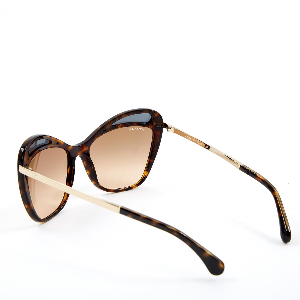 324104cacfe Chanel Pre-owned Oversized Sunglasses in Brown - Lyst