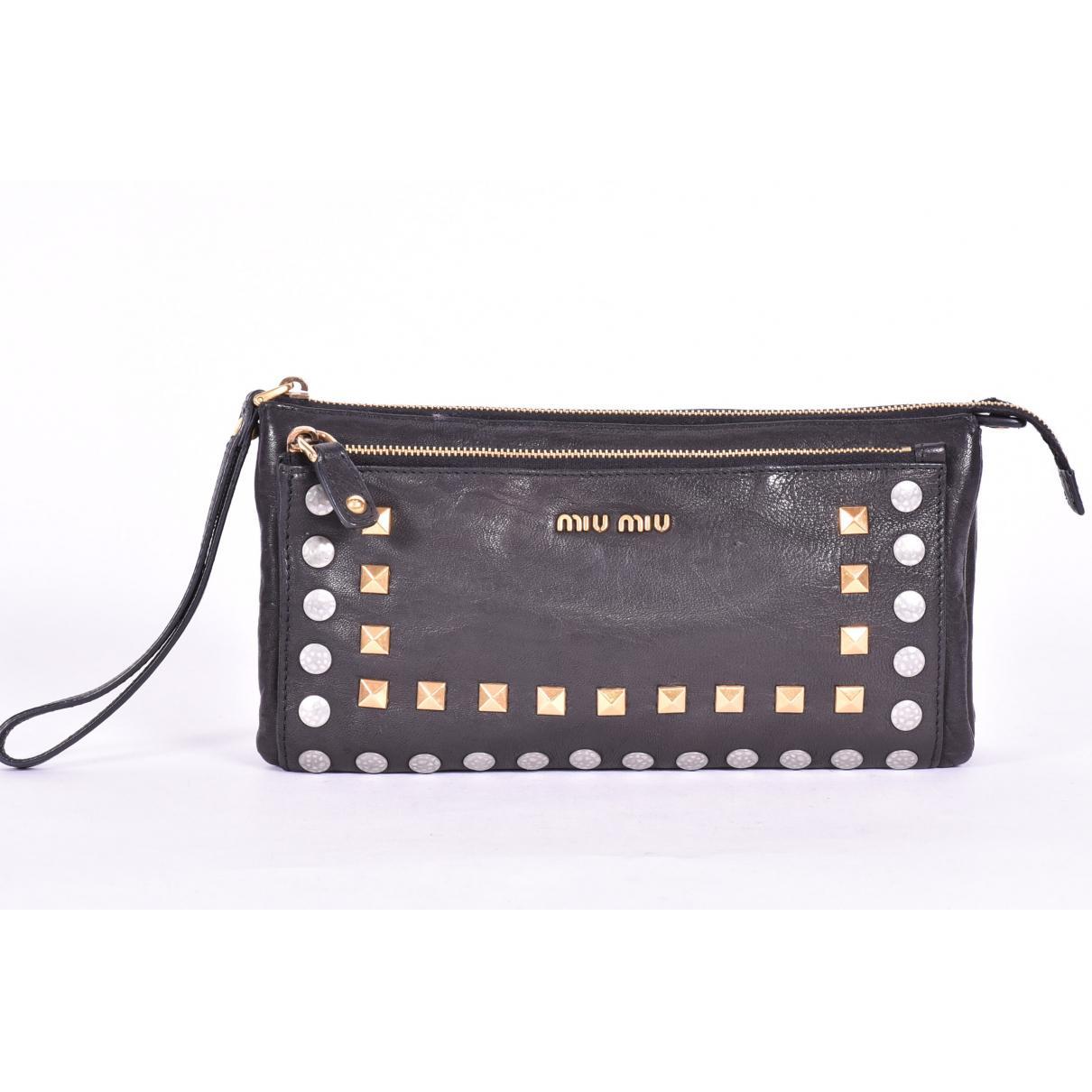 2cb33c58355 Miu Miu Black Leather Clutch Bag in Black - Lyst