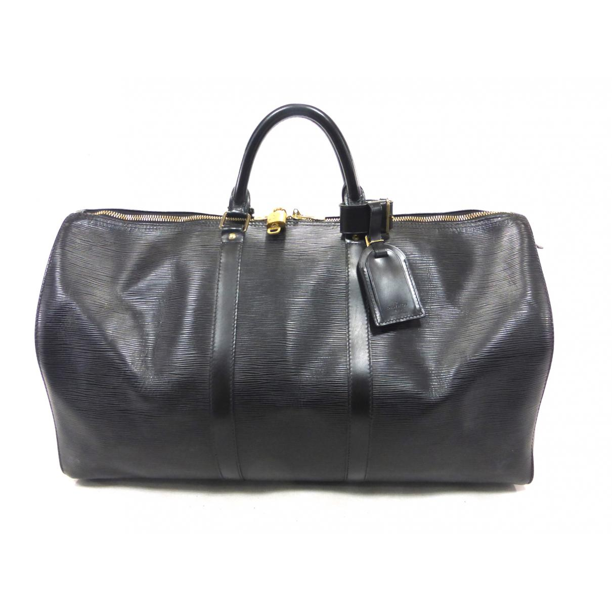 Lyst - Louis Vuitton Vintage Keepall Black Leather Travel Bag in Black 047db7f7692ab