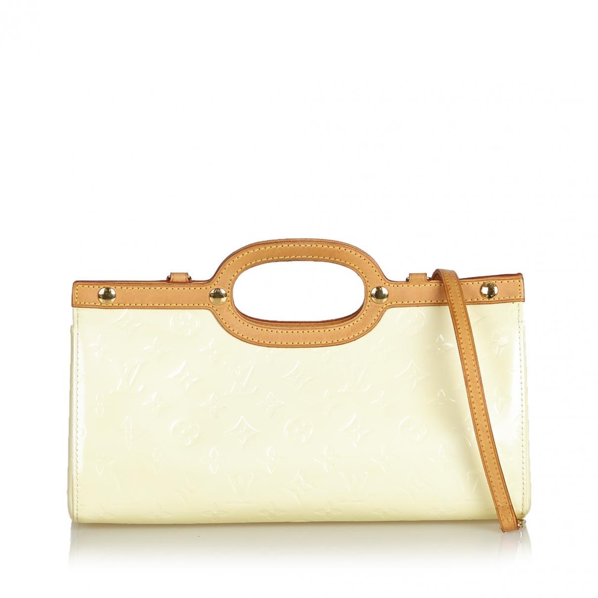 0956eaa83830 Lyst - Louis Vuitton Roxbury Patent Leather Satchel in White
