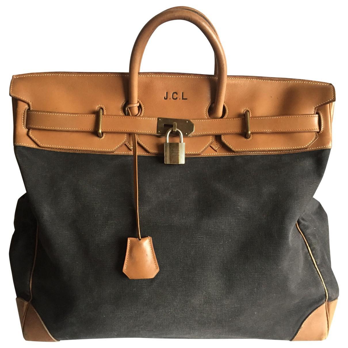 c5fbcae7d58 Lyst - Hermès Haut À Courroies Cloth 48h Bag in Gray