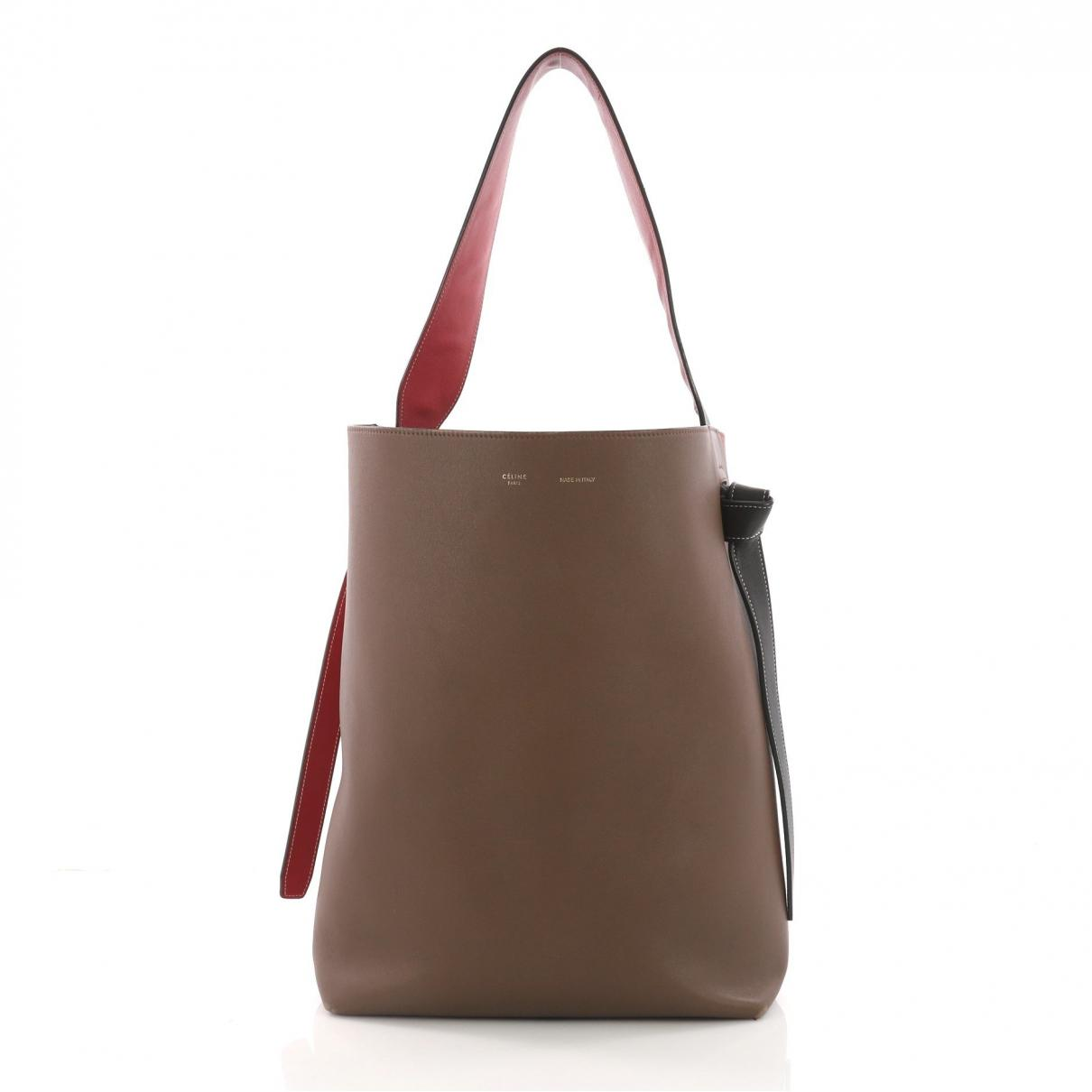 Céline Twisted Leather Tote in Brown - Lyst a86123823b5ad