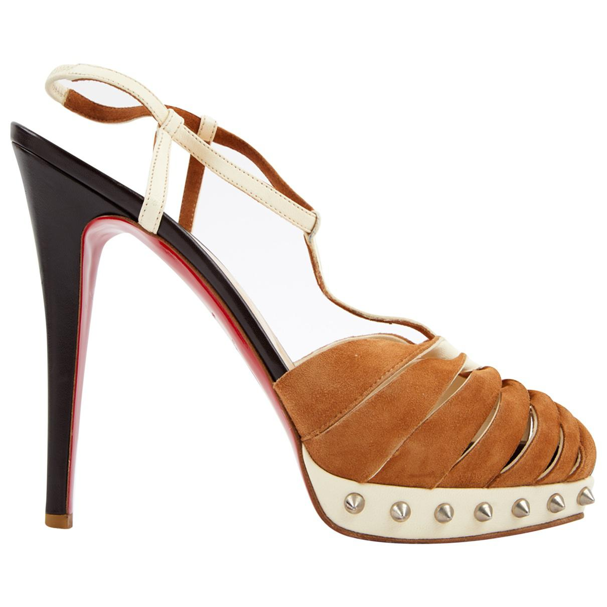 Christian Louboutin Camel Suede Sandals