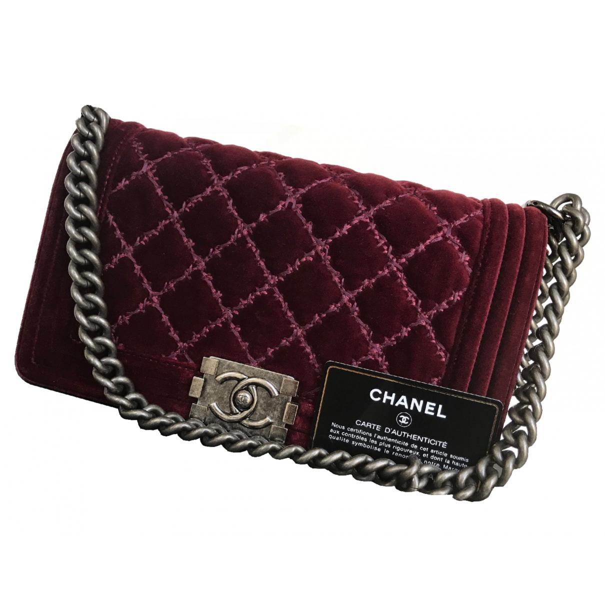 82cd667e458d Chanel Pre-owned Boy Velvet Handbag in Purple - Lyst