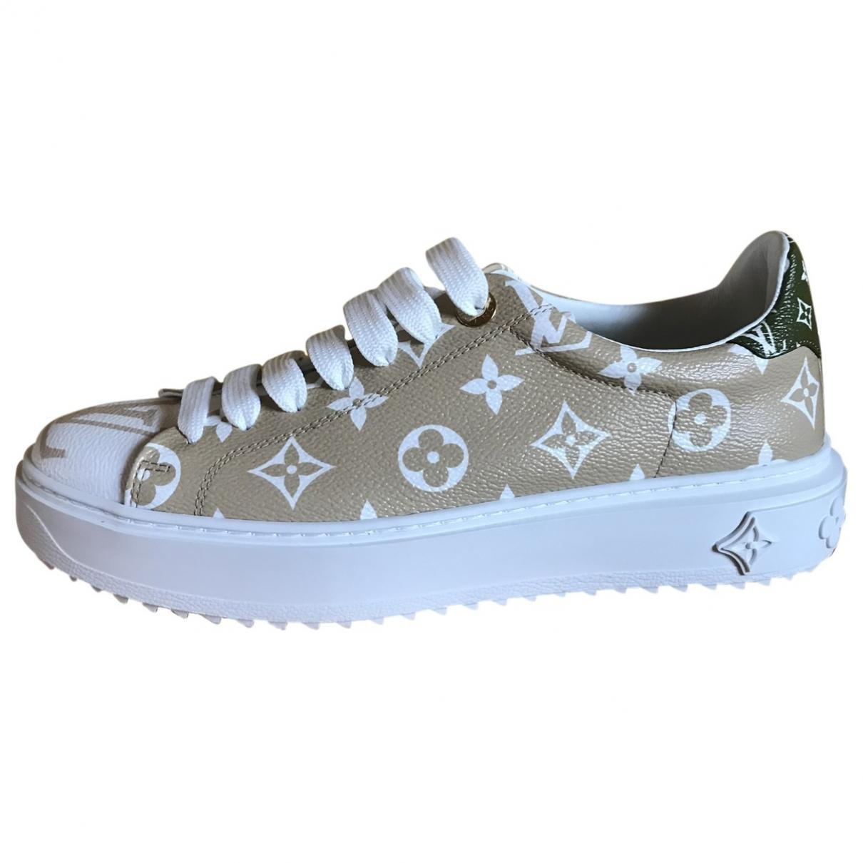 0551908bebe8 Lyst - Louis Vuitton Timeout Beige Leather Trainers in Natural