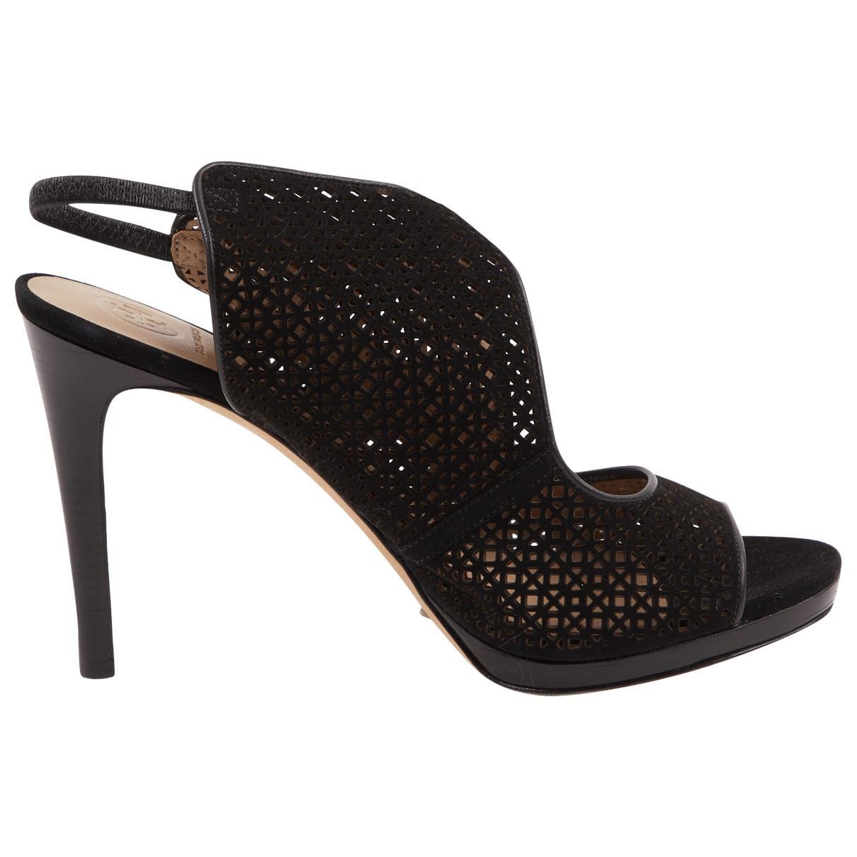 9ed33b798031 Lyst - Tory Burch Pre-owned Velvet Sandals in Black
