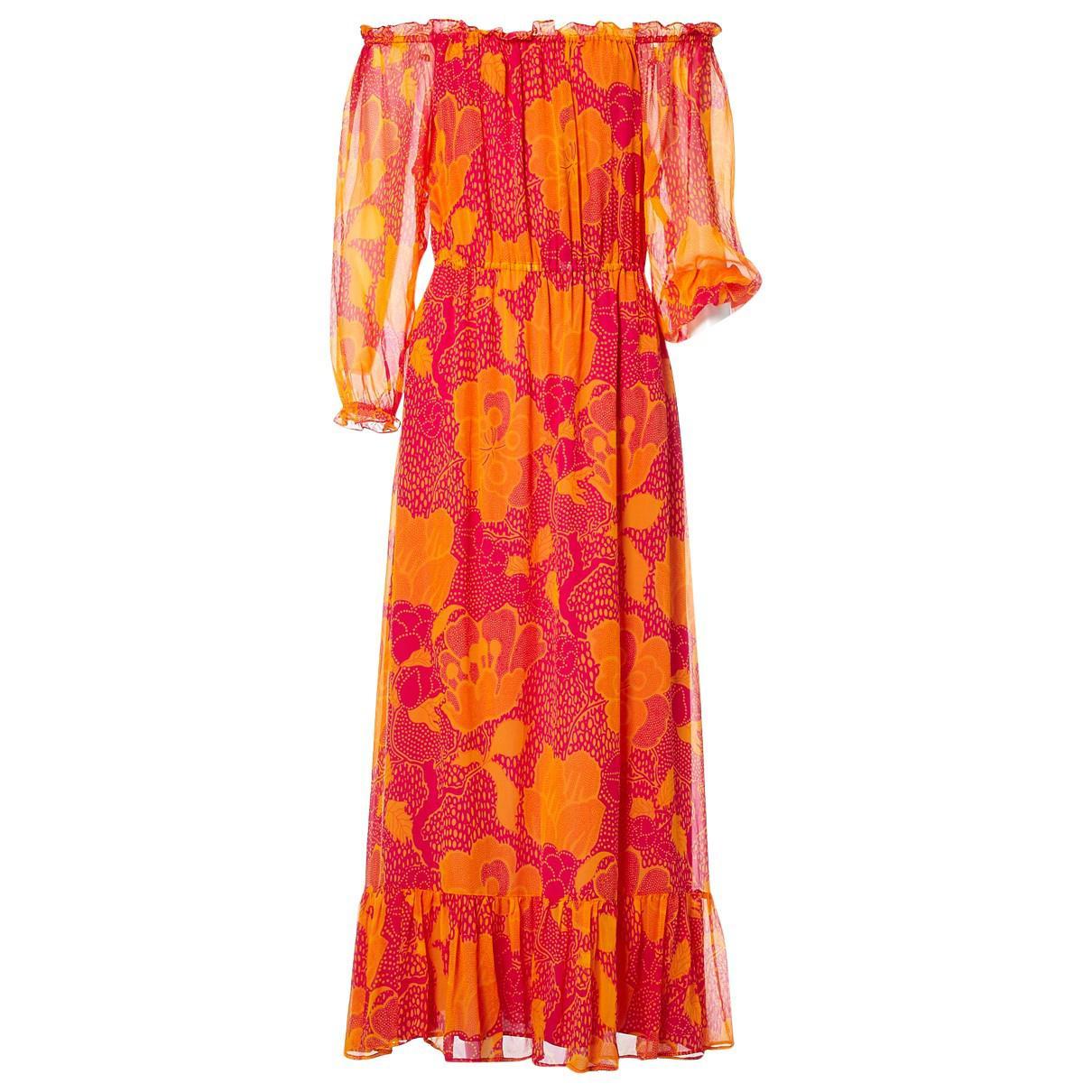 db1290292edb Lyst - Diane Von Furstenberg Silk Maxi Dress in Orange
