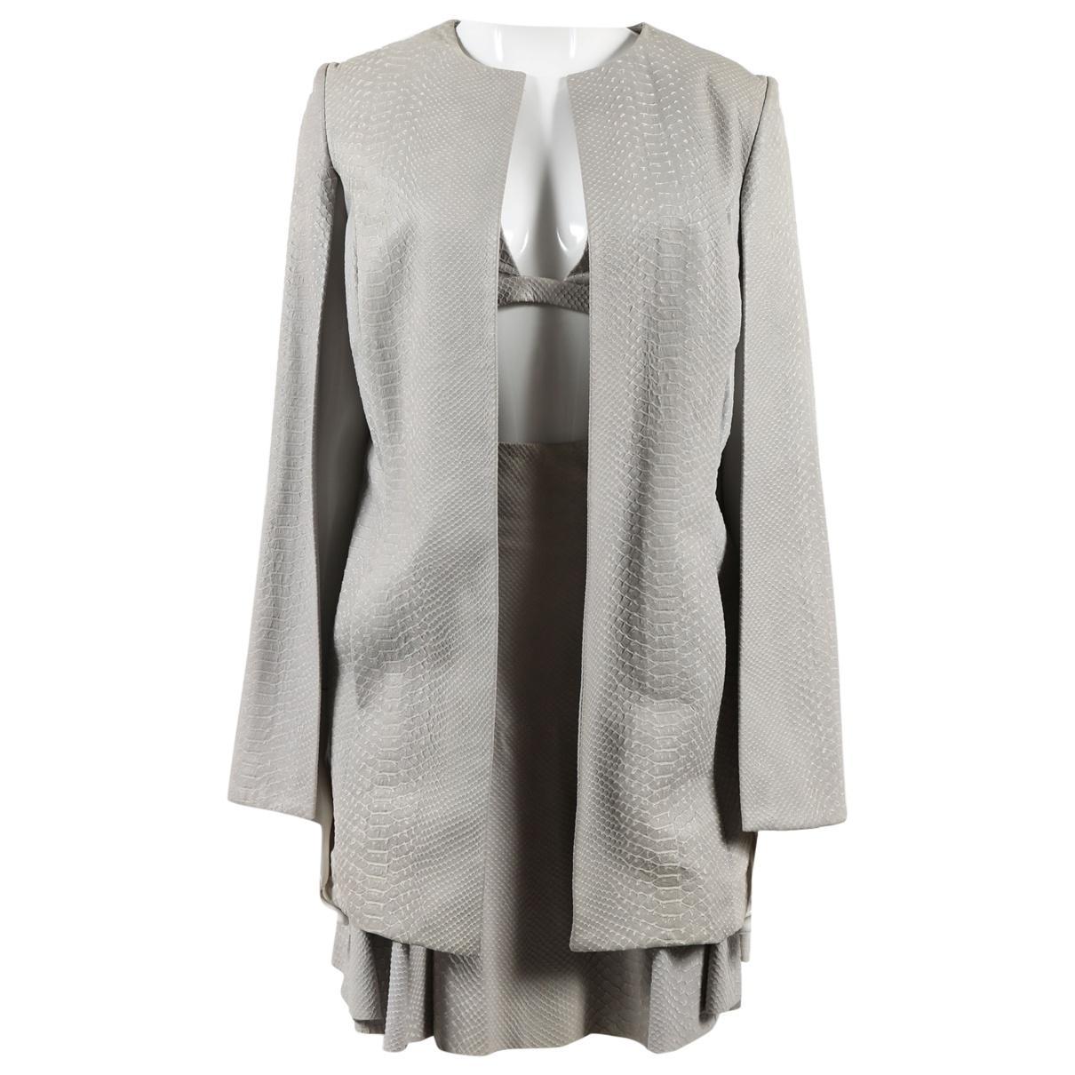 4f1ad857a061 Lyst - Cushnie et Ochs Grey Leather Jacket in Gray