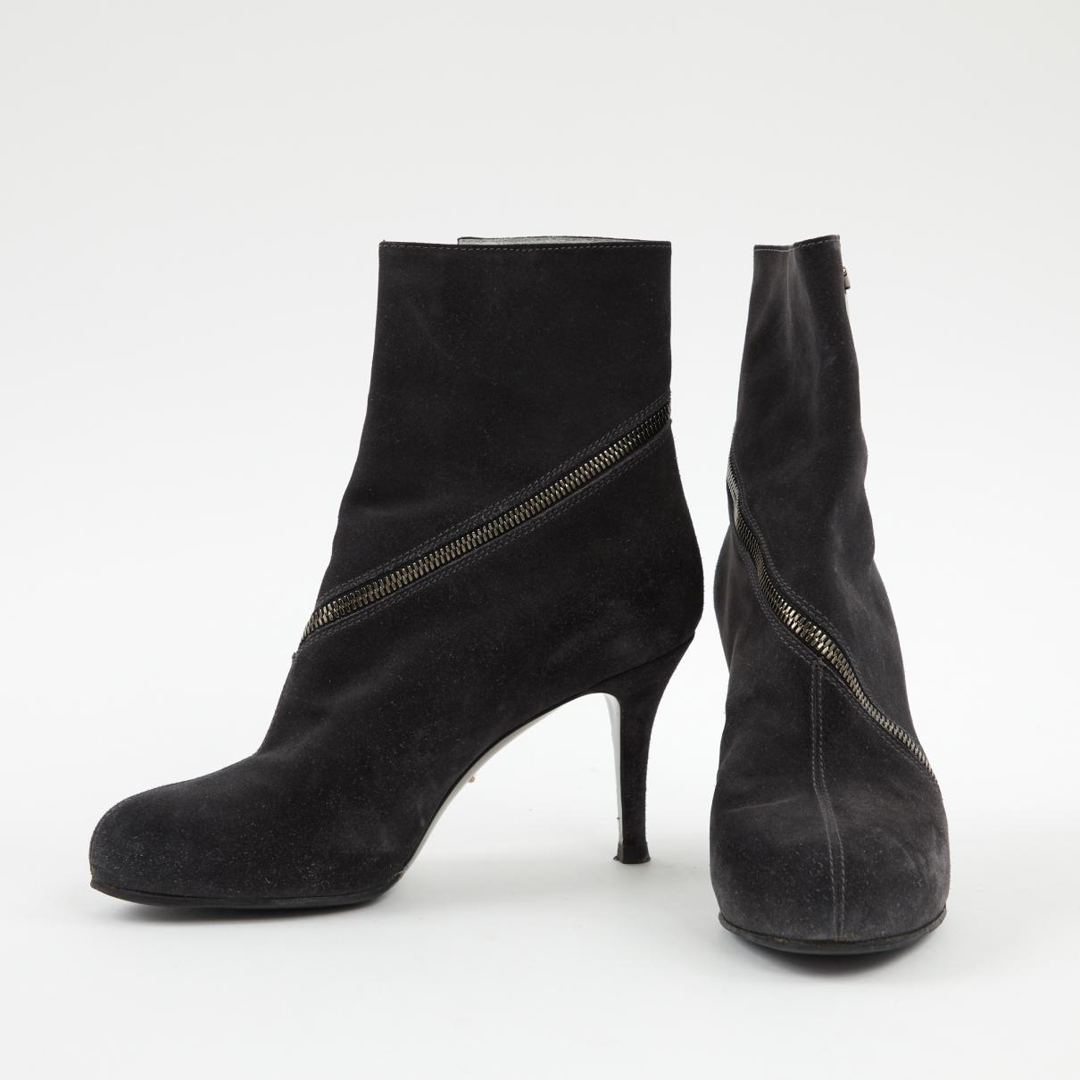 3fc3c3d2e Lyst - Sergio Rossi Anthracite Suede Boots in Black