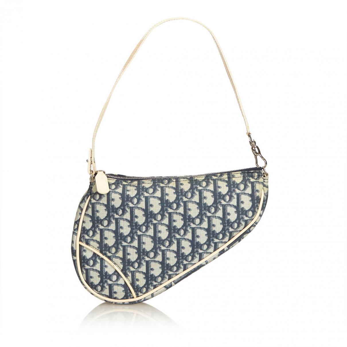 126839192b8a Lyst - Dior Vintage Saddle Blue Cloth Handbag in Blue