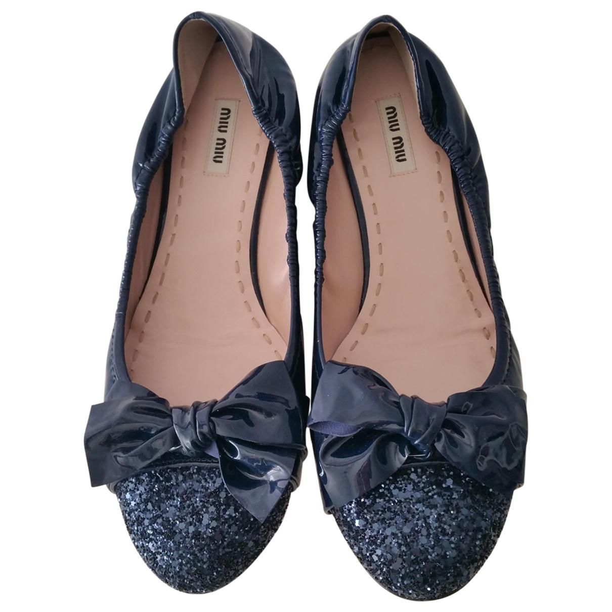 Pre-owned - LEATHER VARNISH BALLET FLATS Miu Miu mME0314