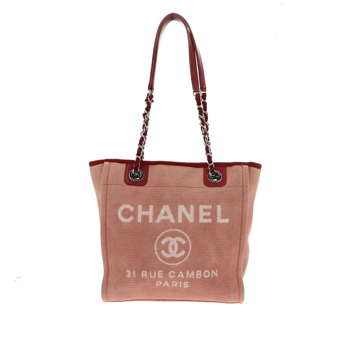 102093fe82ad Lyst - Chanel Deauville Cloth Handbag in Red