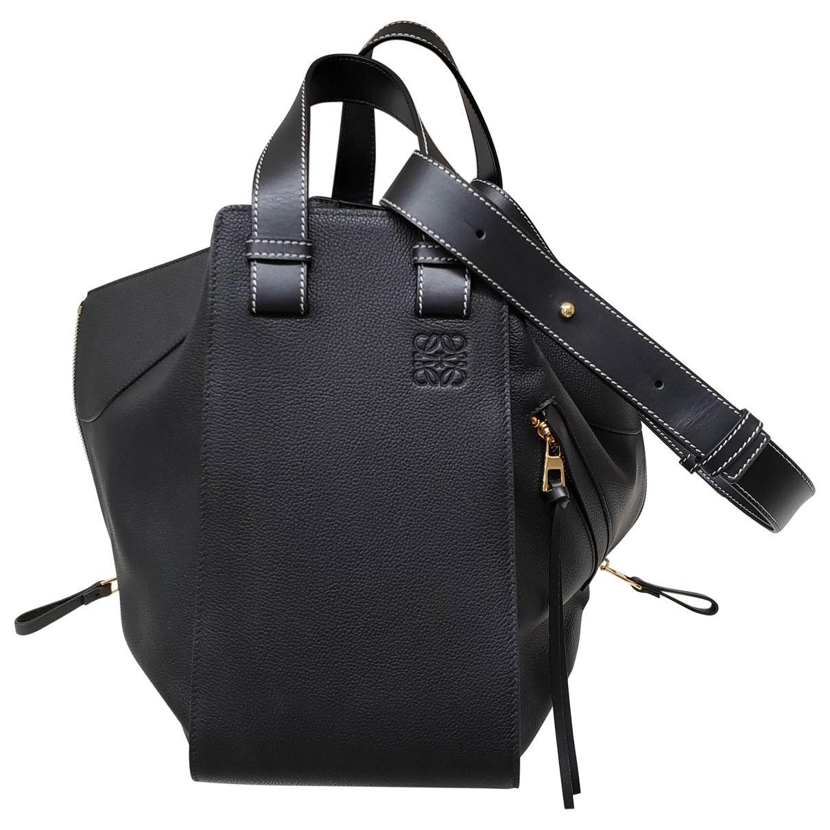 e7a01bef3b37 Loewe Hammock Leather Handbag in Black - Lyst