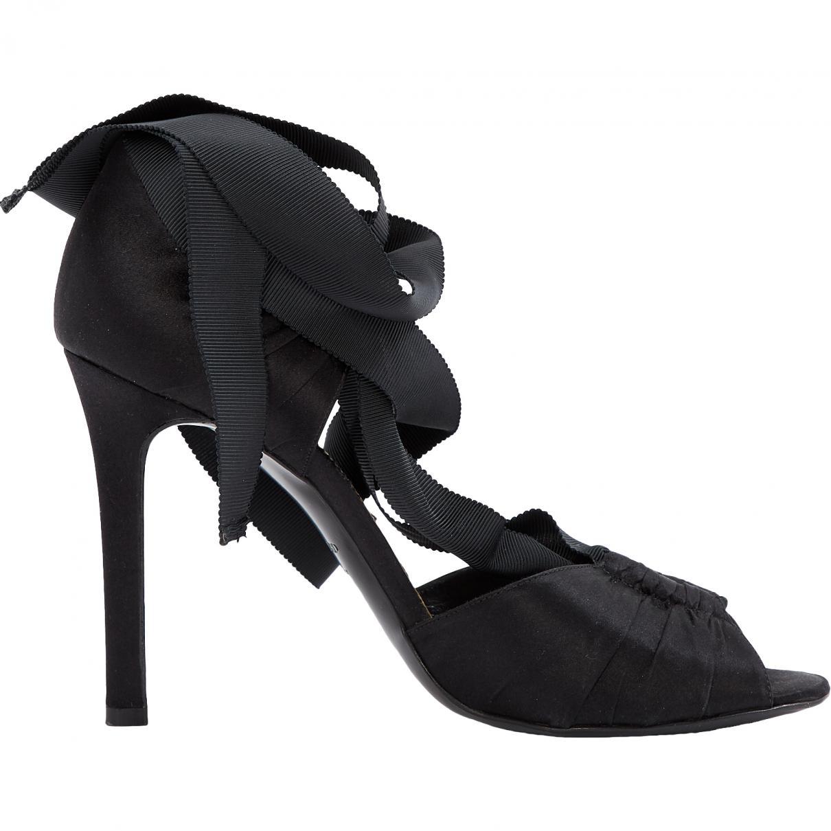 6dd8c6fb22d Lyst - Tom Ford Black Cloth Heels in Black